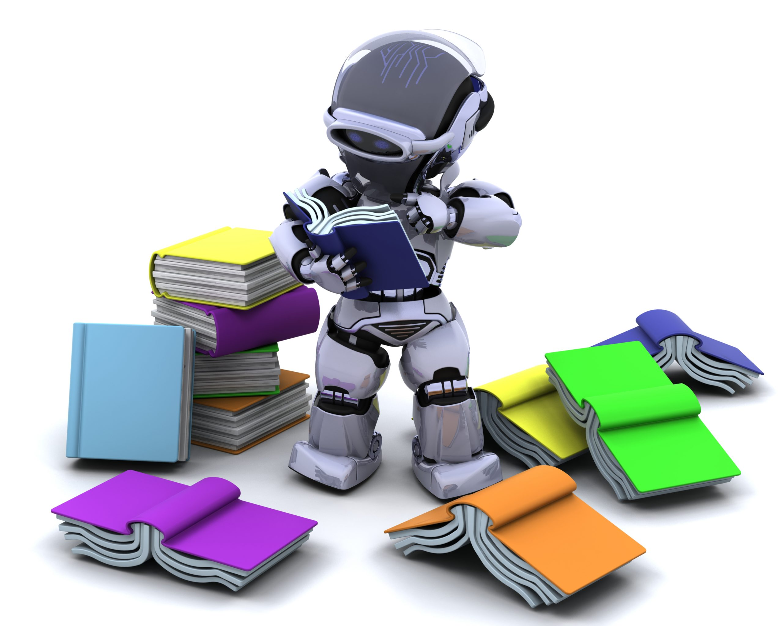 3d render robot with books scaled